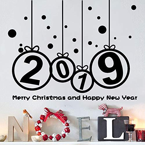 2019 Merry Christmas Wall Decals, E-Scenery Peel and Stick DIY 3D Wall Stickers Mural Art Wallpaper for Kids Room Home Nursery Wedding Party Window Decor -
