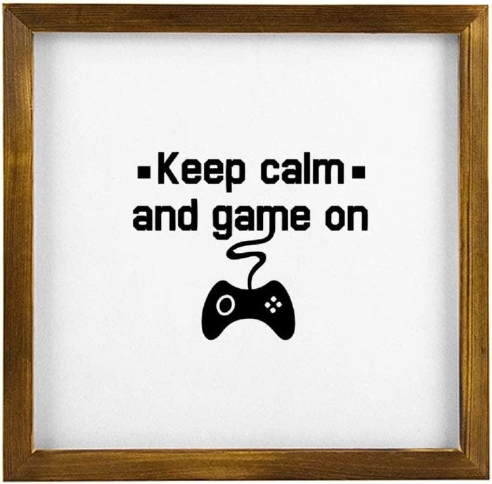 No-Branded Wooden Framed Sign Keep Calm and Game on Framed Wood Sign Custom Home Decor Bedroom Wall Art Modern 12x12 inch