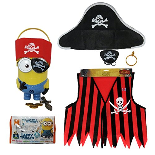 Halloween Pirate Costume and Minions Figural Bucket Dressed in Pirate Costume (Winnie The Pooh Vest Disney Costume)