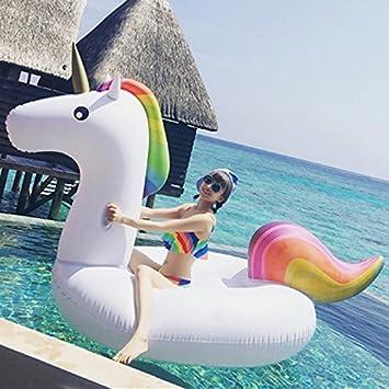GSH Juguete inflable gigante flotante del agua del flotador del anillo del flamenco del flotador de la piscina para la diversión (unicornio): Amazon.es: ...