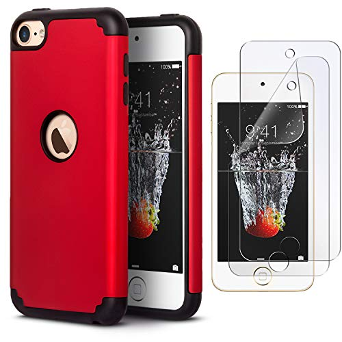 (IDWELL iPod Touch Case with 2 Screen Protector, Slim Fit [ Dual Layer Series ] Soft Silicone Hard Back Cover Bumper Protective Shock-Absorption Case for Apple iPod Touch 5/6/7th Gen, Red )