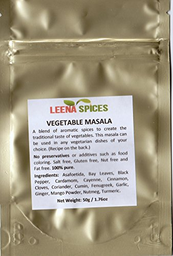 LEENA SPICES - Vegetable Seasoning Masala Spice – Gluten Free – No Salt Or Color – Delicious Indian Easy Cooking Recipe Included – Enjoy Best Quality Food At Home.