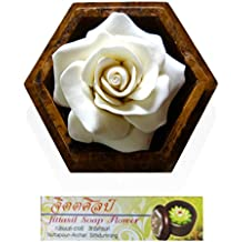 Jittasil Thai Hand-Carved Soap Flower, 4 Inch Scented Soap Carving Gift-Set, White Rose In Decorative Hexagonal Pine Wood Case