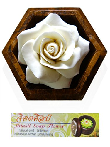 (Jittasil Thai Hand-Carved Soap Flower, 4 Inch Scented Soap Carving Gift-Set, White Rose)