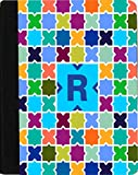 Rikki Knight Letter R Monogram Vibrant Sky Blue Edgy Mosaic Design Faux Leather Case for Apple iPad Mini (Not for iPad Mini 4)
