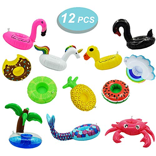 12 Pack Inflatable Drink Holders Inflatable Cup Coasters for Pool Beach Party and Kids Bath Toys (Unicorn, Mermaid, Swan, Flamingo, Crab, Pineapple, Coconut Tree, Watermelon, Cloud, Yellow Duck, Lemon