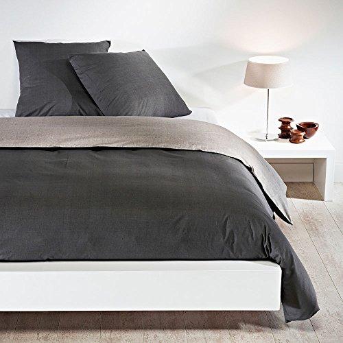 Bettwaren-Shop Wendebettwäsche hellgrau dunkelgrau Bettbezug einzeln 155x200 cm