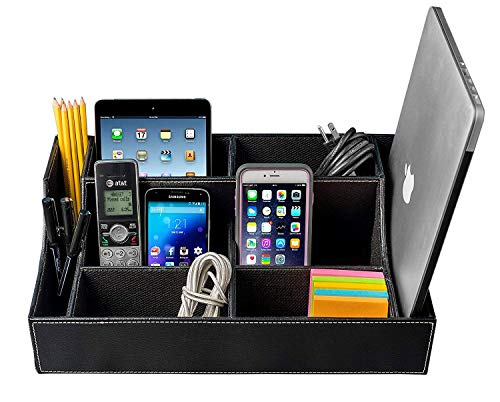 Stock Your Home Large Desk Organizer with Multipurpose Use As Electronics Organizer, Office Supplies Desk Organizer, PS4 Video Games & Controller Organizer, Remote Control Holder and Media Storage Box