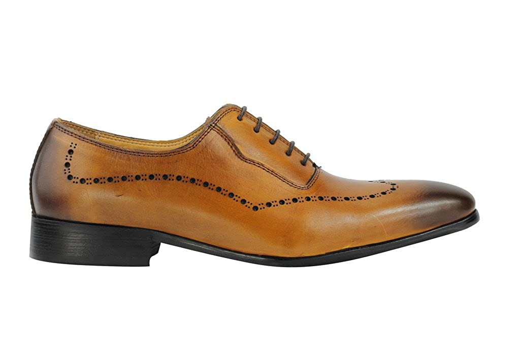 Mens Tan Brown Burnished Real Leather Italian Design Formal Oxford Lace up Shoes