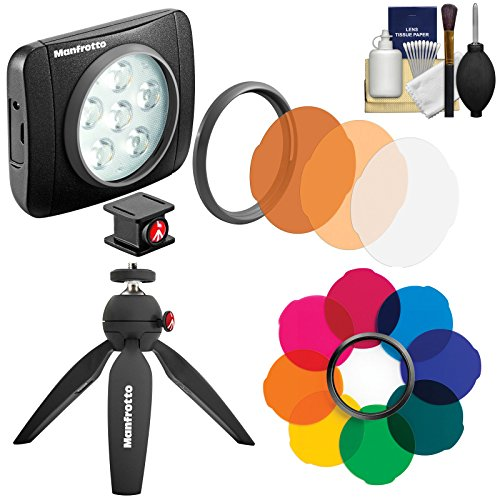 Manfrotto Lumimuse 6 On-Camera LED Video Light with Multicolor Filter Set + Tripod + Kit by Manfrotto