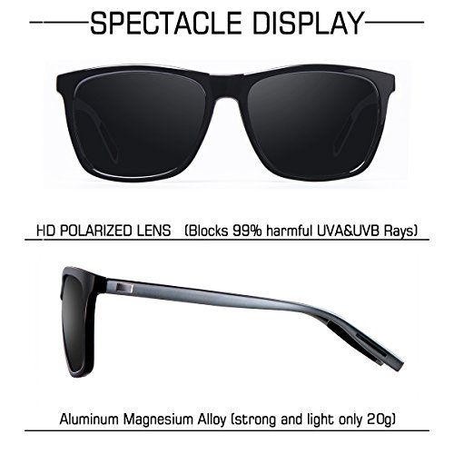 wearPro Mujer A Hombre de para Gafas Protección UV400 Retro Clásico Polarizadas Negro Sol WP2003 y Arma Wayfarer 6BCq6rwxv