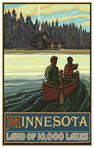 Minnesota Lake Canoers Forest Cabin Travel Art Print Poster by Paul A. Lanquist (12