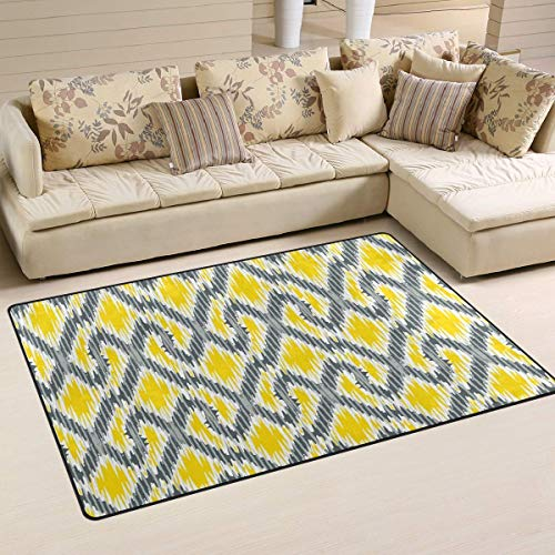 Fantasy Star Play Mat for Kids - Non-Slip Area Rugs Home Decor, Geometric Yellow Gray Ikat Floor Mat Living Room Bedroom Carpets Doormats 60 x 39 inches - Baby Mats for Playing/Crawling