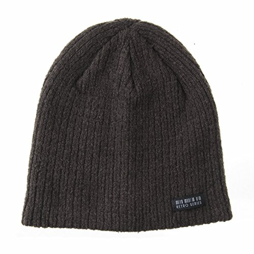 WITHMOONS Gorros de Punto Beanie Hat Ribbed Knit Slouchy Soft Fabric Retro Patch CR5830 Marrón