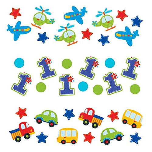Amscan All Aboard Boy 1st Birthday Value Party Confetti, 1.2 oz, Blue/Red/Green/Yellow