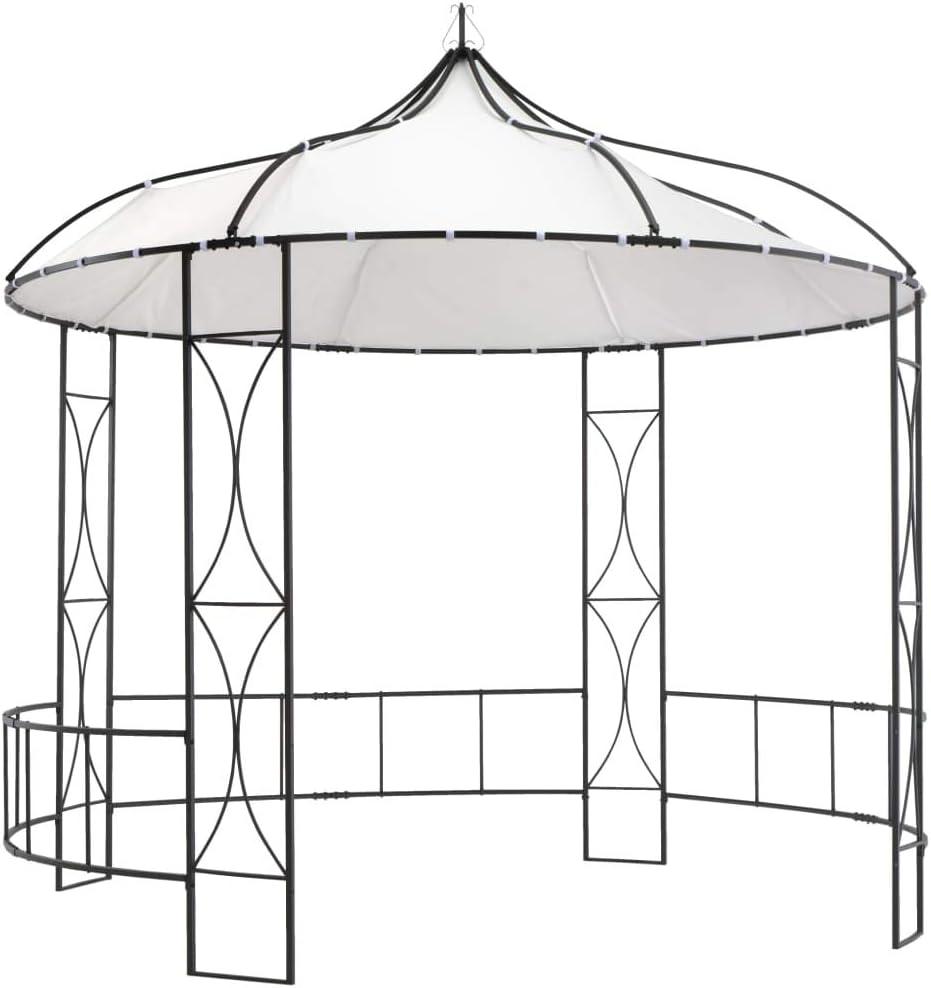 vidaXL Belv/éd/ère de Jardin avec Rideau Lat/éral Tente de R/éception Tonnelle Pavillon Chapiteau Jardin Ext/érieur Arri/ère-Cour 3x3x2,25 m Cr/ème