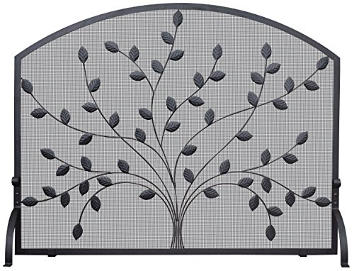 Uniflame S-1073 Single Panel Wrought Iron Screen with Leaves