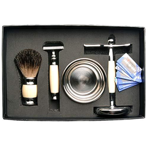 CSB 6pcs Shaving Brush Set with Faux Ivory Handle Black Badger Brush, Razor,Stand,Blade,Bowl and Free Towel