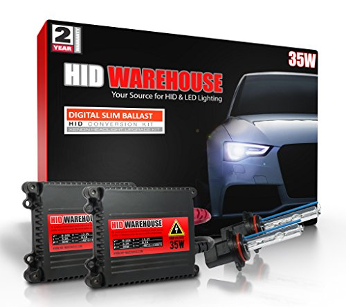 HID-Warehouse 35W HID Xenon Conversion Kit with Premium Slim Ballast - 9006 8000K - Medium Blue - 2 Year Warranty by HID-Warehouse