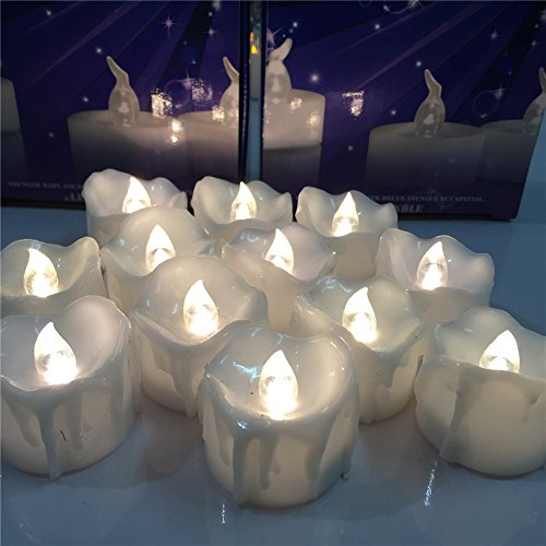 (Window LED Taper Candles Battery Operated with Remote 6.5''Inch Tall,Flameless White Taper Led Candles,Amble Yellow Flickering Candles for Christmas Party Wedding 12pcs)