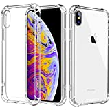 MoKo Compatible iPhone Xs Max Case, Crystal Clear Reinforced Corners TPU Bumper Transparent Hybrid Rugged Anti-Scratch Panel Fit Apple iPhone Xs Max 6.5 inch 2018 - Crystal Clear