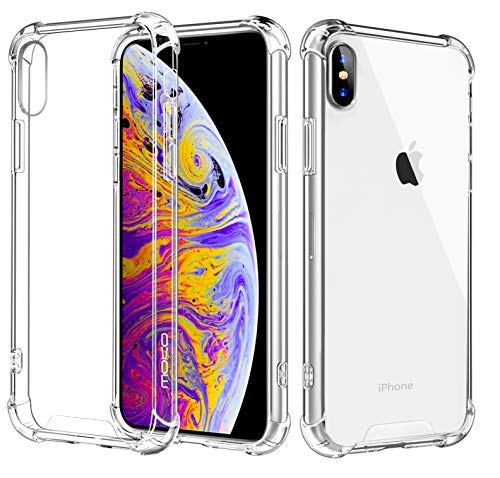 MoKo Cover Compatible for iPhone Xs Max Case, Crystal Clear Reinforced Corners TPU Bumper and Transparent Hybrid Rugged Anti-Scratch Hard Panel Fit with Apple iPhone Xs Max 6.5