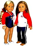 Mckenna Doll Best Deals - Doll Gymnastics Clothes for American Girl Outfit Includes Jacket Yoga Pants Hand Grips Medal Slippers Olympic Team Sparkly USA Dance Cheer Leotard and Hair Accessory (7 Piece Set)