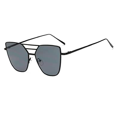 5cd6c63419 Lishy Fashion Unisex Sunglasses Vintage Irregular Glasses Aviator Mirror  Design for Mens and Womens (Black)  Amazon.co.uk  Clothing