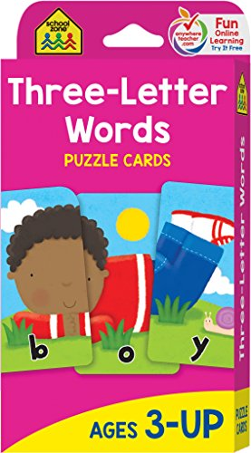 School Zone - Three-Letter Words Flash Cards - Ages 3 and Up, Letters, Letter Recognition, Word Recognition, Spelling, and More