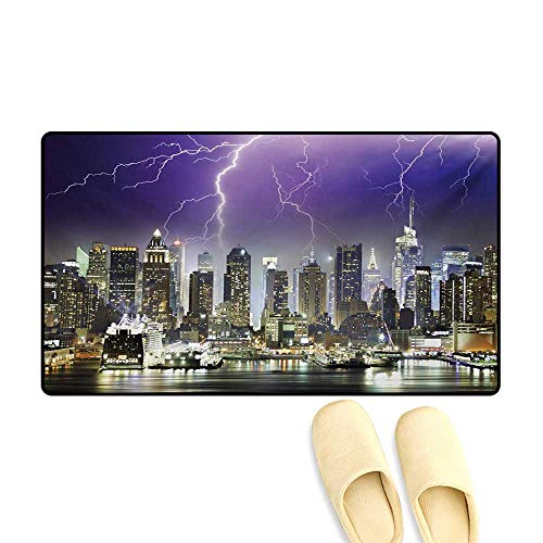 Dash Storm Cover - Bath Mat,Storm and Thunder at Night in New York City Apocalyptic Dramatic View,Door Mat Indoors,Indigo Lilac Charcoal Grey,24