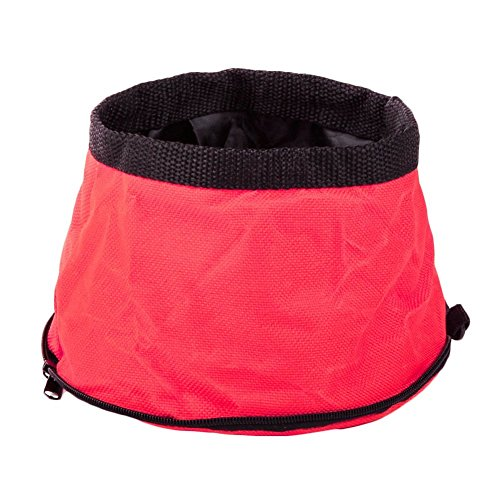 Twin Bowl Sink (OWIKAR Pet Bowls Collapsible Oxford Cloth Waterproof Portable Zipper Foldable Travel Bowl Dog Food Water Bowl For Feeding Samll/Medium/Large Dog Cat (Red))