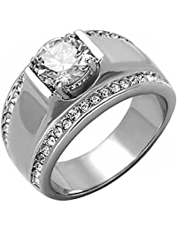 Nathan: Mens 2.66ct Ice on Fire CZ Solitaire Design Semi-eternity Ring 316 Steel, 3286A