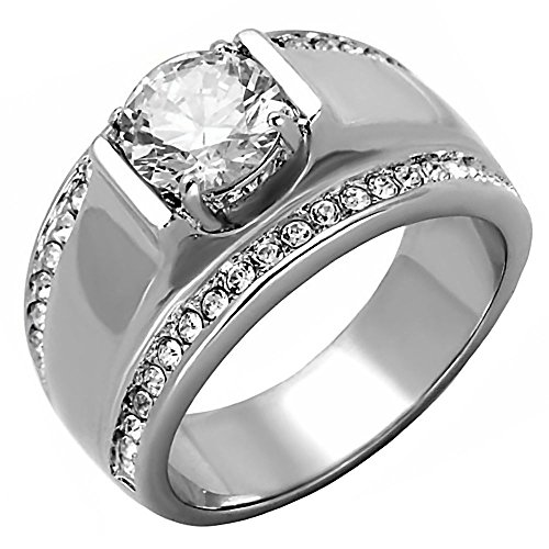 (1000 Jewels Nathan: Mens 2.66ct Ice on Fire CZ Solitaire Design Semi-Eternity Ring 316 Steel, 3286A sz)