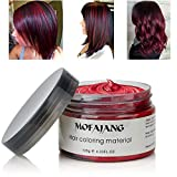 MOFAJANG Hair Coloring Dye Wax, Wine Red Instant Hair Wax, Temporary Hairstyle Cream 4.23 oz, Hair Pomades, Natural Hairstyle Wax for Men and Women Party Cosplay
