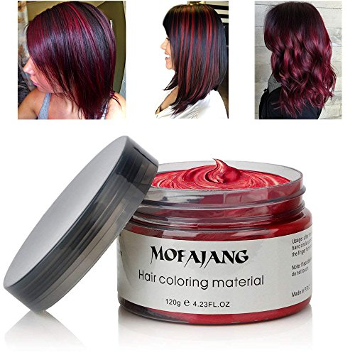MOFAJANG Hair Coloring Dye Wax, Wine Red Instant Hair Wax, Temporary Hairstyle Cream 4.23 oz, Hair Pomades, Natural Hairstyle Wax for Men and Women Party Cosplay -