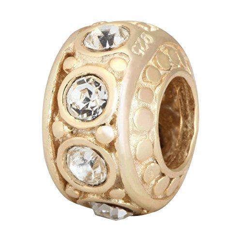 14k Gold Platted Sterling Silver April Birthstone Charm Bead Swarovski Birthstone Crystal Fits Pandora Biagi Troll Chamilla Charm Bead Bracelet EC273