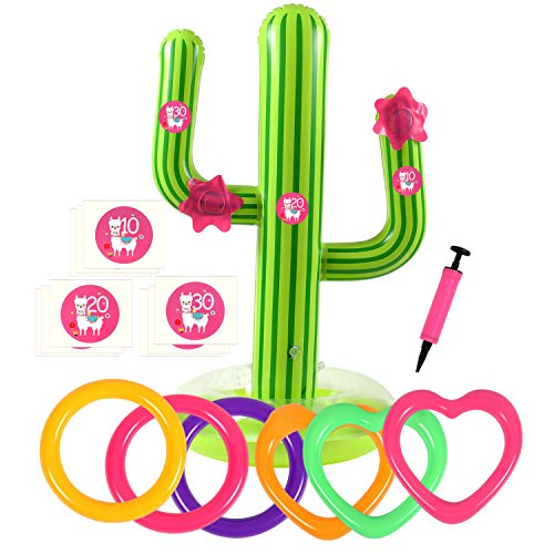 G.C 16 Pcs Inflatable Cactus Ring Toss Game Toys Sets for Kids Cactus Float Pool Toys for Luau Beach Party Supplies Outdoor Indoor Summer Games for Kids Adults Family -