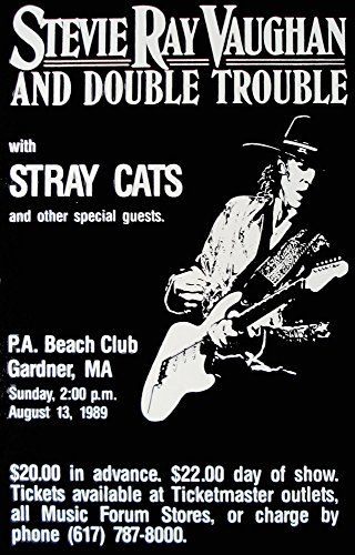 Innerwallz Stevie Ray Vaughan Stray Cats Double Trouble 1989 Live Concert Retro Art Print - Poster Size - Print of Retro Concert Poster - Features Stevie Ray, Chris, Tommy and - Poster Retro Concert