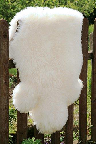 Öko Lammfell Schaffell weiß 100-110 cm ökologisch gegerbt