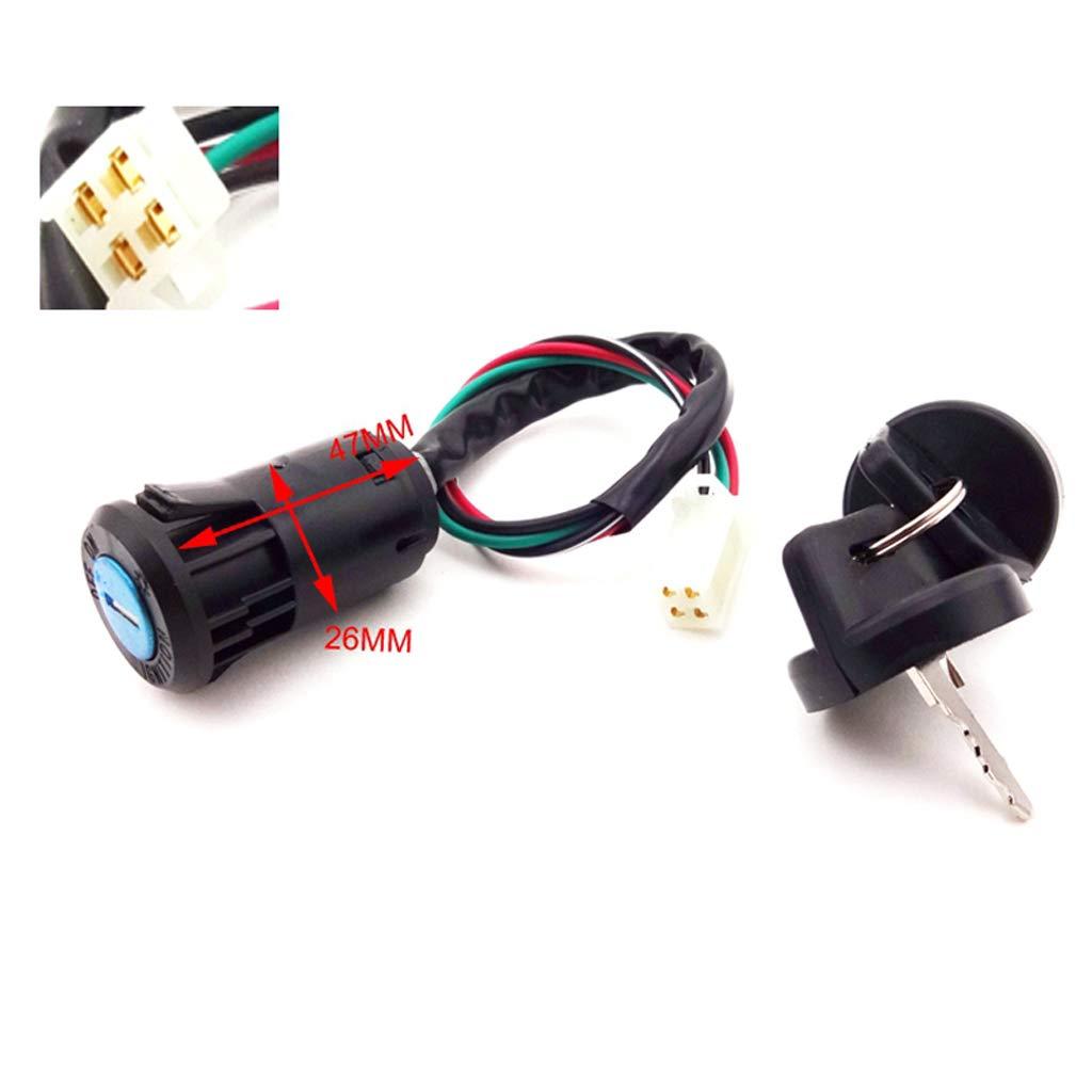 TC-Motor 4 Wire Female Plug Ignition Key Switch For 50cc 70cc 90cc 110cc 125cc Quad ATV Go Kart Taotao Sunl Kazuma Roketa Peach JCL