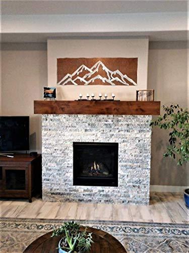 Copper Rustic Headboard - Metal Wall Art Mountain Range Snowy Peaks Two Tone Cabin Lodge Vacation Home Housewarming Gift Idea