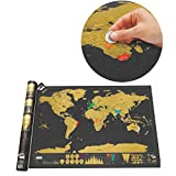 Black Luxury Scratch World Map Cylinder Packing Home Decor( NO FRAME )