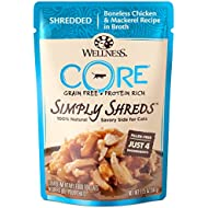 Wellness CORE Simply Shreds Grain Free Wet Cat Food Mixer or Topper, Shredded Boneless Chicken & Mackerel Recipe in Broth, 1.75-Ounce Pouch (Case of 12)