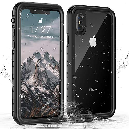 Janazan iPhone X/iPhone Xs Waterproof Case, IP68 Certified Full Sealed Underwater Protective Cover, Waterproof Shockproof Snowproof Dirtproof with Built-in Screen Protector (Black/Clear)