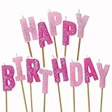 dolly2u 13 Pink Sparkle Happy Birthday Glitter Cake Decoration Pick Candles