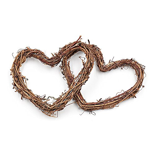 (Ya Jin DIY Crafts Rattan Heart Natural Dried Grapevine Wreath Xmas Garland Home Wedding Party Decor)