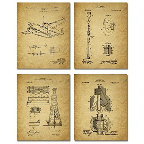 Howard Hughes Patent Prints - Set of Four Vintage Spruce Goose H-4 Hercules Oil Drill Rig Wall Art Decor Photos