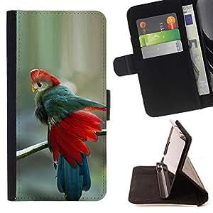 BullDog Case - FOR/Apple Iphone 6 PLUS 5.5 / - / teal red feathers blue tropical bird /- Monedero de cuero de la PU Llevar cubierta de la caja con el ID Credit Card Slots Flip funda de cuer