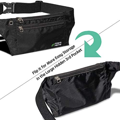 Slim Fanny Pack for Man Woman, 3 Individual Pockets Water Resistant Travel Waist Bag, Elastic Adjustable Belt Lightweight Discreet, Fits iPhone 11 pro, Family kids Field Trip Outdoor Indoor Sports