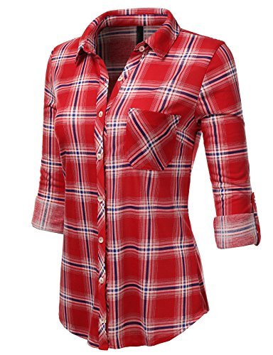H2H Womens Casual Flannel Plaid Checker Button Down Roll Up and Long Sleeves Shirt Top REDROYAL US L/Asia L (AWTSTL0474) (L/s Plaid Shirt Red)